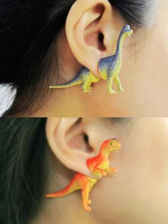 Halved Plastic Dinosaur Toys Reunite as the Front and Back of Adorable Earrings