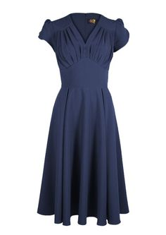 So Foxy Retro Dress - Navy - Fashion 1930s, 1940s & 1950s style - vintage reproduction adore this dress