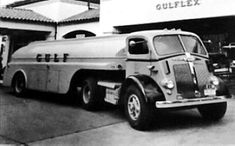 Gulf Oil Tanker Truck, a 1941 White. Delivering gas to a Gulf Oil Station.