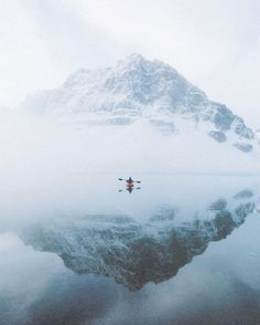 Kayaking next to a glacier