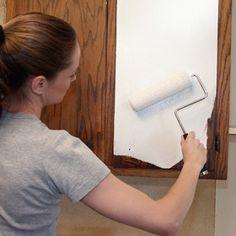 Refinish laminate cabinets w/ rustoleum.