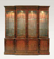 Maitland Smith 5731-102  Mahogany Breakfront Lighted China Cabinet, Glass Shelves Light Antique Brass Mounts