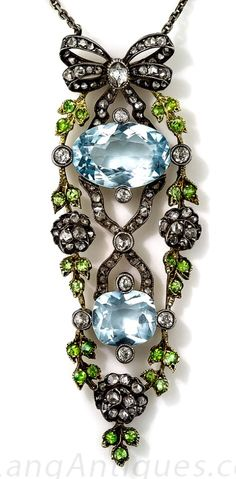 Antique Aquamarine, Demantoid and Diamond Necklace