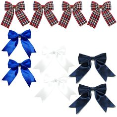 Ribbon Boutique Hair Bows Clips For Teens Kids Toddlers Children Pack of 10 (Striped Scottish red tones x4, Navy x 2,Blue x 2 and Off White x 2) -- This is an Amazon Affiliate link. You can get additional details at the image link.