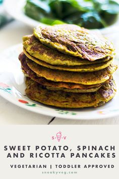 These sweet potato pancakes with spinach and ricotta are perfect for weaning putting in lunch boxes or just serving straight from the pan. Egg Recipes For Breakfast, Delicious Breakfast Recipes, Breakfast For Kids, Vegan Recipes Easy, Baby Food Recipes, Kid Recipes, Kitchen Recipes, Breakfast Ideas, Dinner Recipes