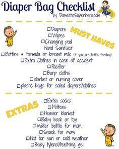 Diaper Bag Essentials and a Free Printable Checklist! Perfect to go along with baby shower gift!