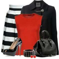 I like the skirt and probably jacket. The shirt would just have to be a v neck or scoop or something, so it wouldn't give my boobs a bigger look, don't need that :P I'm not a purse girl yet, but if I were I'm sure id love the purse. No earrings for me, like the braceleg, scary heels xD