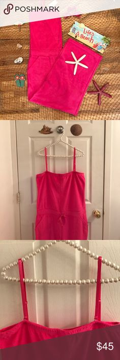 """NY&CO Terry Jumpsuit Love ❤️ This Piece! NWT Terry Jumpsuit From NY&CO! Size: XL. Color is fuchsia pink. Reminds me of a Lilly Pulitzer piece! Adjustable straps. Self tie waist. 2 front pockets. Great for a casual day with flip flops, poolside, beach! Very soft! 80% cotton. 20% polyester. Machine wash tumble dry. Inseam approx 25"""". NO TRADES. New York & Company Pants Jumpsuits & Rompers"""