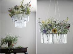 Test tube lamp with flowers