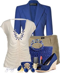 """khaki and blue two"" by wendyfer ❤ liked on Polyvore"