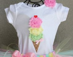 CLASSIC NEAPOLITAN --Birthday Girl Ice Cream Cone Bodysuit or Shirt Only, sizes…