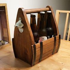 Barrell look beer caddy #WoodworkingProjectsBeer