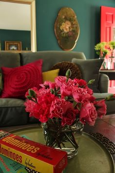 Deep Teal Living Room. Interior design and photo © Kelly Berg, Story & Space