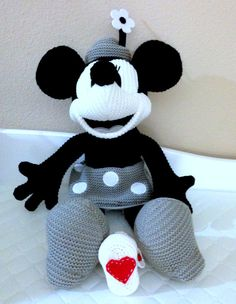 Love Crochet Booties by BambinaBaby on Etsy….wanna find the mickey mouse pattern