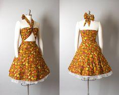 Vintage 1950s 1960s Dress | 50s 60s Seashell Novelty Print Cotton Sundress Wrap Top Orange Hawaiian Sun Dress (small) | Birthday Life Vintage on Etsy