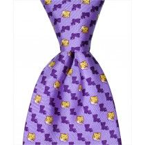 LSU State Tiger Tie – Purple Custom necktie designed in New Orleans and handmade from 100% natural silk.
