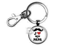 Porte clé cabochon verre pour homme j aime mon papa   Porte clés par  bijoux-martika-creation 0be75531121