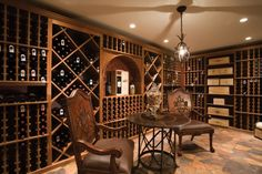 Vigilant uses both custom and kit wine cellar components in this wine cellar design