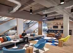 Office Design Envy: Awesome Office Spaces at 10 Brands You Love - Lounge Space with Photo Backdrop - Home Office Small Office Design, Cool Office Space, Corporate Office Design, Corporate Interiors, Office Interior Design, Office Interiors, Office Designs, Modern Interior, Corporate Offices