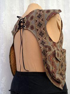 Tapestry shoulder holsters - shoulder bag pockets - utility shoulder holster with pockets - steampunk shoulder holster vest - Medium