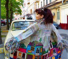 """Купить Пальто """"ПЕРЛАМУТРОВЫЙ ХУНДЕРТВАССЕР-2"""" Пряжа Норо - перламутр - рисунок, Анна Лесникова, хундертвассер"""