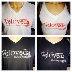 Veloveda Logo v-neck shirts for men and women. White shirt with red print and black shirt with silver print. V Neck, Logo, Clothing, Silver, Red, Shirts, Black, Women, Fashion