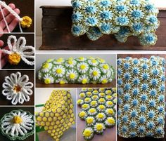 Crochet Puff Flower Vintage Daisy Crochet Blanket Free Pattern - You will love to make this Crochet Puff Flower Blanket and it's a fabulous free pattern. We've also included a video tutorial to show you the process. Vintage Crochet Patterns, Crochet Flower Patterns, Crochet Blanket Patterns, Crochet Motif, Free Crochet, Knitting Patterns, Crochet Afghans, Crochet Puff Flower, Crochet Daisy