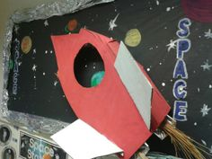 Space wall display.  We flicked paint for the background and painted planets.  Silver foil for the border.Springmead School, Somerset