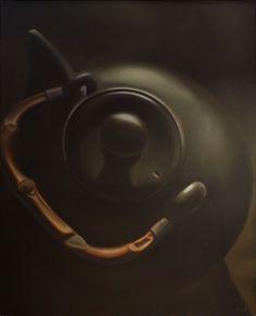 Konvička (Teapot), Oil on canvas, © Mirek Vojáček Teapot, Oil On Canvas, Paintings, Abstract, Hyperrealism, Summary, Painted Canvas, Tea Pot, Painting