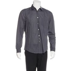 Pre-owned John Varvatos Striped Button-Up Shirt ($45) ❤ liked on Polyvore featuring men's fashion, men's clothing, men's shirts, men's dress shirts, blue, mens striped dress shirts, mens dress shirts, mens button down dress shirts, old navy mens shirts and mens navy blue dress shirt