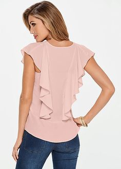 Flutter Short Sleeve Blouse from VENUS women's swimwear and sexy clothing. Order Flutter Short Sleeve Blouse for women from the online catalog or Women's Fashion Dresses, Dress Outfits, Sewing Blouses, Make Your Own Clothes, Girl Celebrities, Beautiful Blouses, Look Fashion, Street Fashion, Womens Fashion