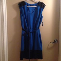 New Guess black and blue dress Tie at waist and gold buttons on shoulders Guess Dresses