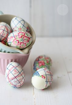 eggs decorated with simple paper napkins!