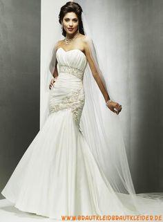 Elegantes Brautkleid aus Taft im Meerjungfrauenstil mit Applikation kaufen online
