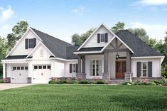 The farmhouse exterior design totally reflects the entire style of the house and the family tradition as well. The modern farmhouse style is not only for interiors. It takes center stage on the exterior as well. Exteriors are adorned with bright-siding, t Craftsman Ranch, Craftsman Farmhouse, Craftsman Style House Plans, Modern Farmhouse Exterior, Ranch House Plans, Farmhouse Style, Rustic Farmhouse, Modern Craftsman, Urban Farmhouse