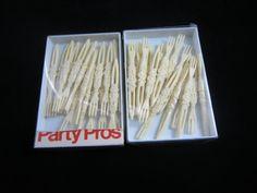 Party Pros Ivory Picks Skewers Tiki Forks by VintageSouthernPicks
