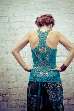 Crochet Aqua racer back tank top very detailed por Shovava en Etsy, $48.50