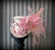 Blush pink and Gold Mini Top Hat Alice in Wonderland by ChikiBird, $46.00