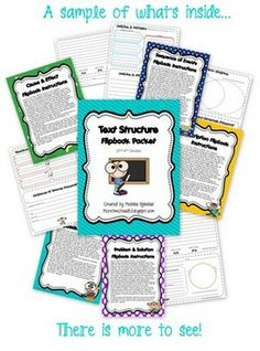 This packet focuses on the 5 types of text structures (description, cause & effect, compare & contrast, sequence of events, and problem & solution)