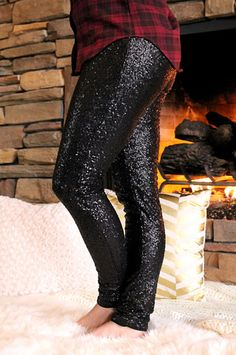 Black Sequin Leggings | UOIOnline.com: Women's Clothing Boutique-NEED!
