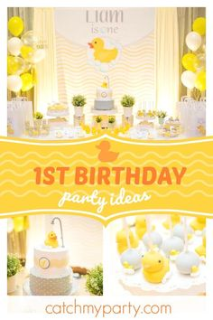 laine Events's Birthday / Rubber Duck - Rubber Duck birthday party at Catch My Party 1st Birthday Boy Themes, 2 Year Old Birthday Party, Boy Birthday Parties, Birthday Ideas, Kid Parties, Theme Parties, 2nd Birthday, Birthday Gifts, Rubber Duck Birthday