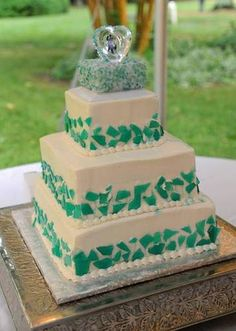 """sea glass cake   For the cake, we made mint-flavored sea-glass candy and made a """"mosaic ..."""