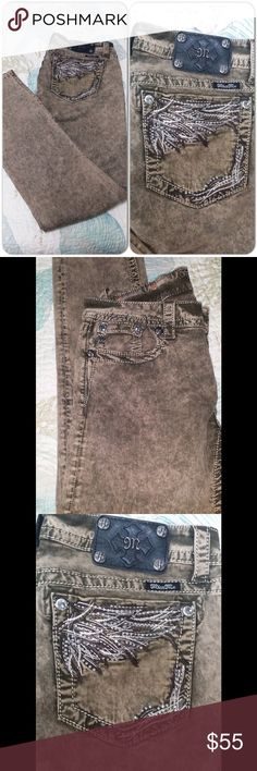 """Miss Me denim #J006 Olive shade with shiny rhinestone studs at corners of pockets. Brand new.    Waist 15.5"""",Inseam 31, Front rise 8"""". #J006 Miss Me Jeans"""