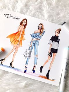 Fashion sketches of Jessica Wong from NotJessFashion by fashion illustrator Rongrong DeVoe