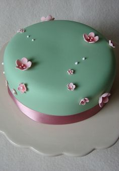Pink and Green Blossom Cake