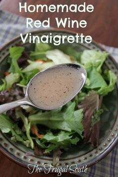 Homemade red wine vinaigrette is better and cheaper than store-bought! Save money with homemade dressing. Red Wine Vinaigrette Salad Dressing Recipe, Mustard Salad Dressing, Salad Dressing Recipes, Salad Recipes, Salad Dressings, Red Wine Vinegarette, Red Wine Vinegar Recipes, Wine Recipes, Recipes
