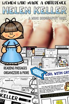 Use this Helen Keller Mini Biography Unit to help you study and organize your learning about the the first person who as both deaf and blind to graduate with a college degree. Included in this mini-unit you will find short reading passages, organizers, interactive notebook foldable activities, writing activities, posters, video links, and more. Your students will love studying the life of this amazing woman: Helen Keller.