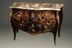 Chinoiserie of this quality is a rare find – especially in Indiana! Learn more about this exquisite antique French bombe commode and see more pics on our blog: http://www.beauchampantiques.com/inventory/french-marble-top-commode-with-chinoiserie-finish/  #antiques #commodes #furniture