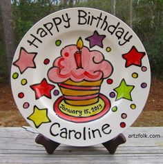 CUSTOM Large 10 Birthday Cake Plate Personalized great by & Painted ceramic birthday plate. This would be cute for each kiddo on ...