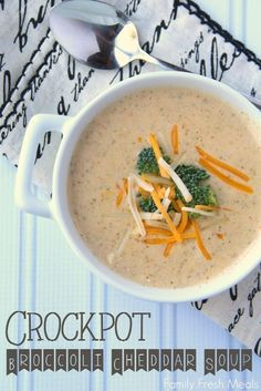 Crockpot Broccoli Cheddar Soup -- Family Fresh Meals Ingredients 3 Tablespoon butter 1 small onion, diced 4-5 cloves of garlic, minced 2 (10 oz bags) frozen broccoli 1 cup diced or shredded carrots 32 oz chicken or vegetable broth 1 cup water 1/2 teaspoon pepper 1 tsp salt 1(12oz) can evaporated milk 8 oz cream cheese, cubed 4 cups sharp cheddar cheese